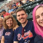 Photo of Dale, Stephanye, Jonathan and Tiffany Peek at the Atlanta Braves game.