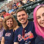 Photo of Dale, Stephanye, Jonathan and Tiffany Peek at the Atlanta Braves game.