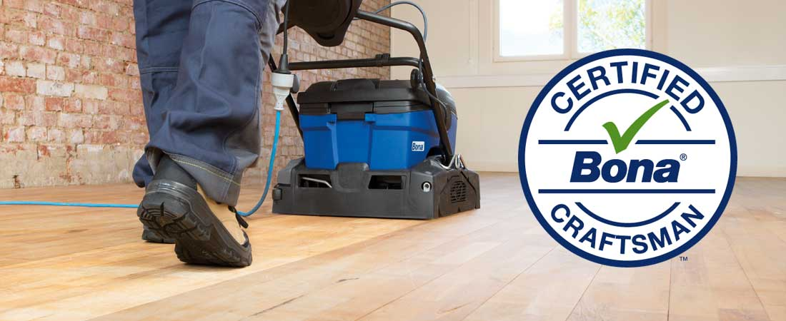 Photo of deep cleaning of wood floor with the Bona Revive process from Arnold Flooring.